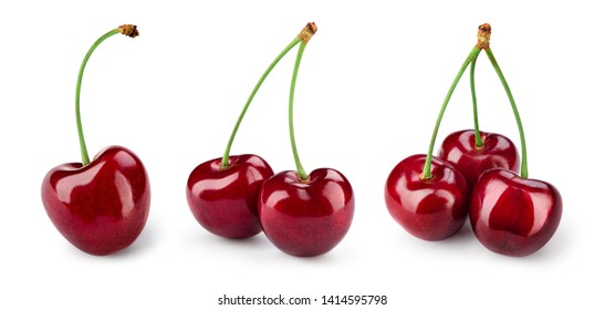 Cherry isolated. Cherries on white. Cherry set. With clipping path.