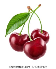 Cherry isolated. Cherries on white. Cherries with leaf. With clipping path.
