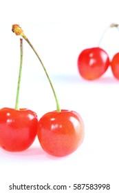 Cherry isolated on white background macro
