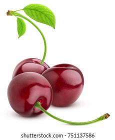 Cherry isolated on white background. Three Cherries group