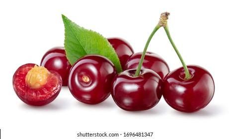Cherry isolated. Sour cherry. Cherries with leaves on white. Sour cherries on white. Cut cherry.