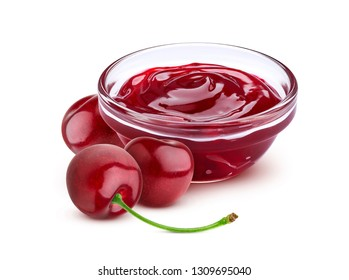 Cherry jam in bowl isolated on white background with clipping path, cherry marmalade