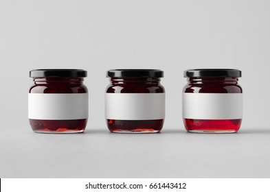 Cherry Jam Jar Mock-Up - Three Jars. Blank Label