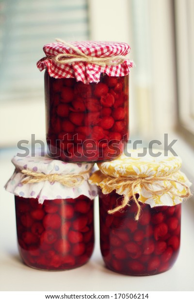 cherry jam in jars