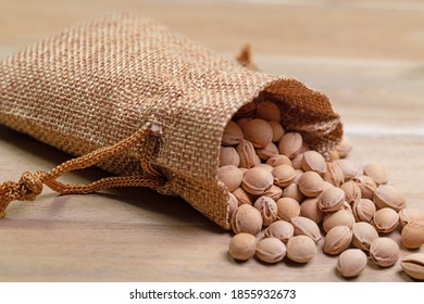 Cherry kernels in a jute bag, close-up