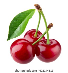 Cherry with leaves isolated on white background.