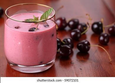 Cherry milk shake. Shallow DOF