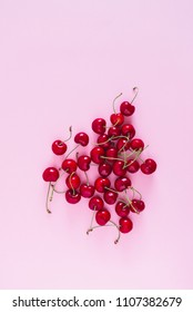Cherry on pink Background