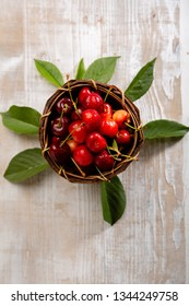 Cherry on wood background