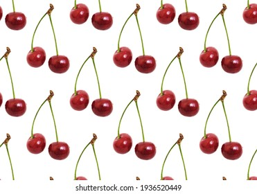 Cherry pattern on a white background