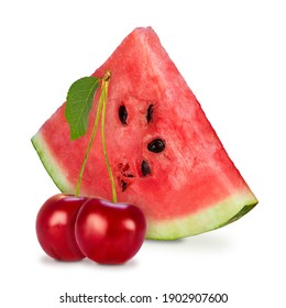 Cherry and piece of watermelon on a white background.