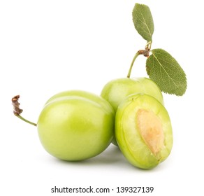 Cherry Plum Isolated On White Background