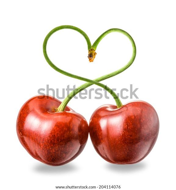 cherry sticks shows a heart-shape