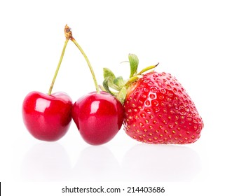 cherry strawberries Isolated on white background