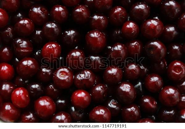 Cherry. Summer harvesting concept. Background, backdrop, berry, organic food, fruit, juice, closeup