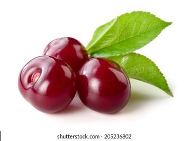 Cherry. Three berries isolated on white