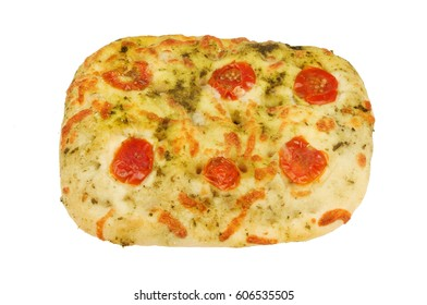 Cherry tomato and mozzarella Focaccia flatbread isolated against white