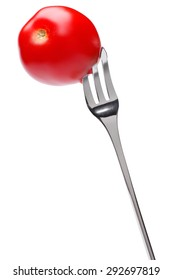 Cherry tomato on fork isolated on white background