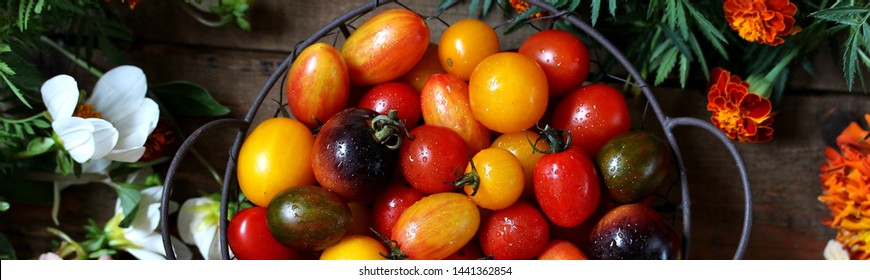 cherry tomatoes are different varieties in the basket  surrounded by flowers