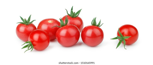 Cherry tomatoes isolated on white background. Front view