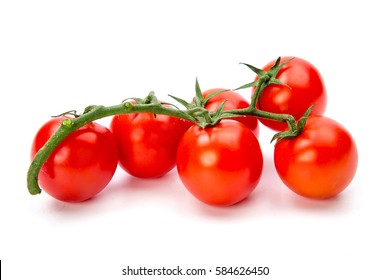 Cherry tomatoes isolated over white background