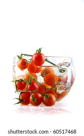 cherry tomatoes in a large glass
