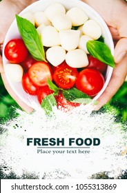 Cherry tomatoes, mozzarella, basil, organic food concept. Food background, collage, template for menus, covers, flyers, magazines and advertising.