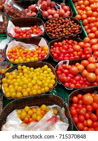 cherry tomatoes on baskets