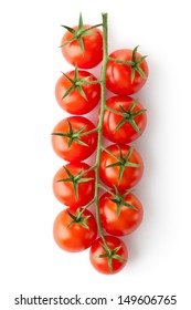 Cherry tomatoes on the branch. Isolated on a white.