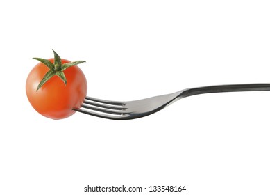 cherry tomatoes on a fork