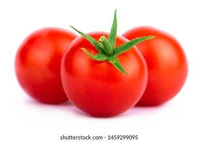 Cherry tomatoes on white background with clipping path