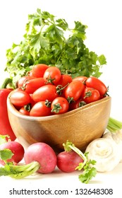cherry tomatoes, radishes, peppers and parsley - assorted vegetables