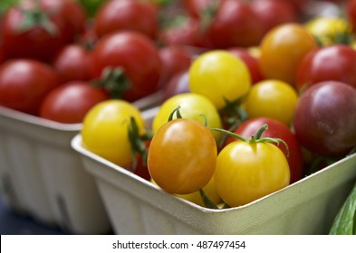 Cherry tomatoes at the Saturday farmers market at Portland State University, in Portland, Oregon, United States.