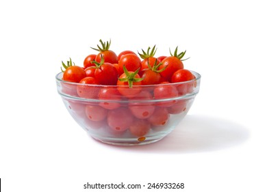 cherry tomatoes in transparent bowl