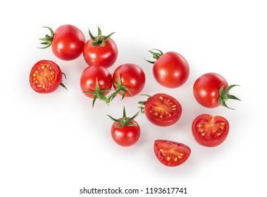 Cherry Tomatos isolated on white top view