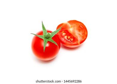 Cherry tomatos on white background