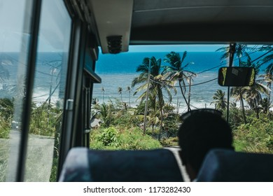 Cherry Tree, Barbados - July 27, 2018: View of Cherry Tree Hill, Barbados, from a bus. Located 850 feet above sea-level, Cherry Tree Hill offers an excellent views and is a popular tourist spot.