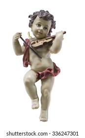 Cherub with violin isolated on white