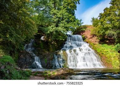 Chervonogorodsky Falls, Dzhurynsky waterfall in Nyrkiv on the Dzhuryn river. Ternopilska oblast, Ukraine.