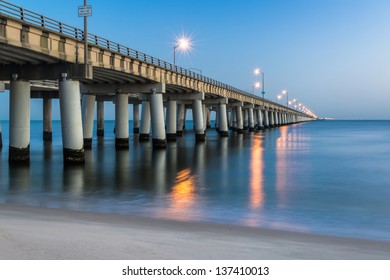 Chesapeake Bay Bridge as seen from Virginia Beach, Virginia - 30 minutes prior to sunrise