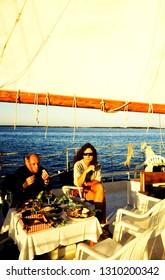 Chesapeake Bay, Eastern Shore, Maryland, USA, Dinner cruise on Skipjack, October 12, 1997