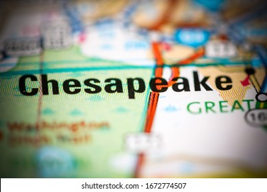 Chesapeake. Virginia. USA on a geography map