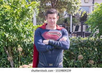 Cheshire, England - August 18th, 2019 : Chester Comic Con - Superman Cosplayer