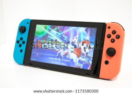 Cheshire, England - August 7th, 2018: Nintendo Switch Mario Tennis Aces isolated on White Background