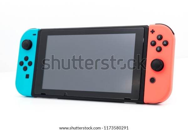 Cheshire, England - August 7th, 2018: Nintendo Switch isolated on White Background