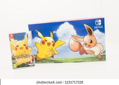 Cheshire, England - November 16th, 2018: Pokemon Lets Go Pikachu for Nintendo Switch