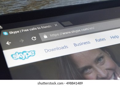 CHESHIRE, ENGLAND - OCTOBER 15, 2016: Skype on screen of an NVidia Shield Android Tablet