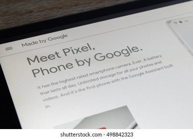 CHESHIRE, ENGLAND - OCTOBER 15, 2016: Google Pixel Phone on screen of an NVidia Shield Android Tablet