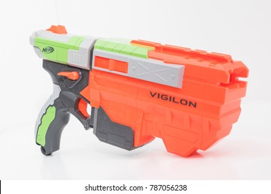 CHESHIRE, UK. December 29 2017. Nerf Vigilon isolated on a white background