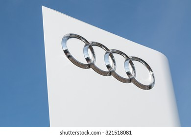 Cheshire,UK - September 28th 2015: Audi logo on a sign outside the car or automotive dealership. All car brands are under scrutiny after the VW emissions scandal.